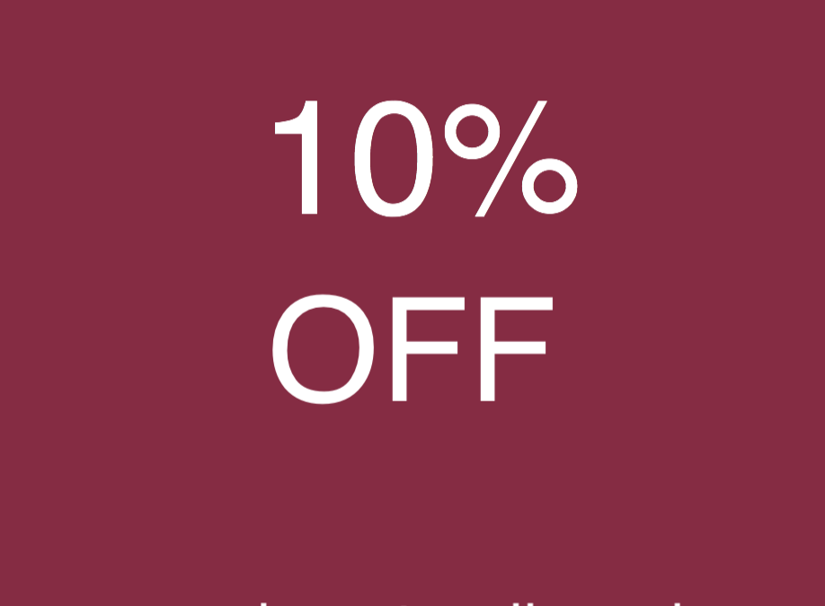 10% OFF THIS WEDNESDAY 7 MARCH 2018